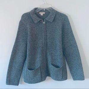 J Crew Medium wool gray  cardigan sweater